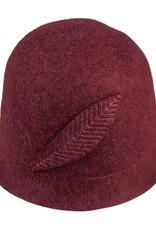 Hat Stack Burgundy Wool Felt Bucket Hat w/ Feather