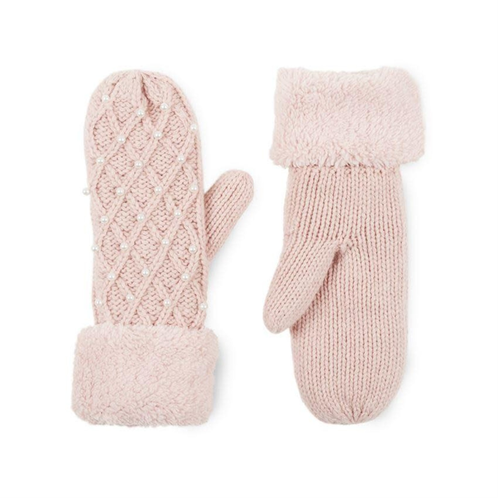 Pink Knitted Mittens w Fuzzy Trim and Pearl Detailing
