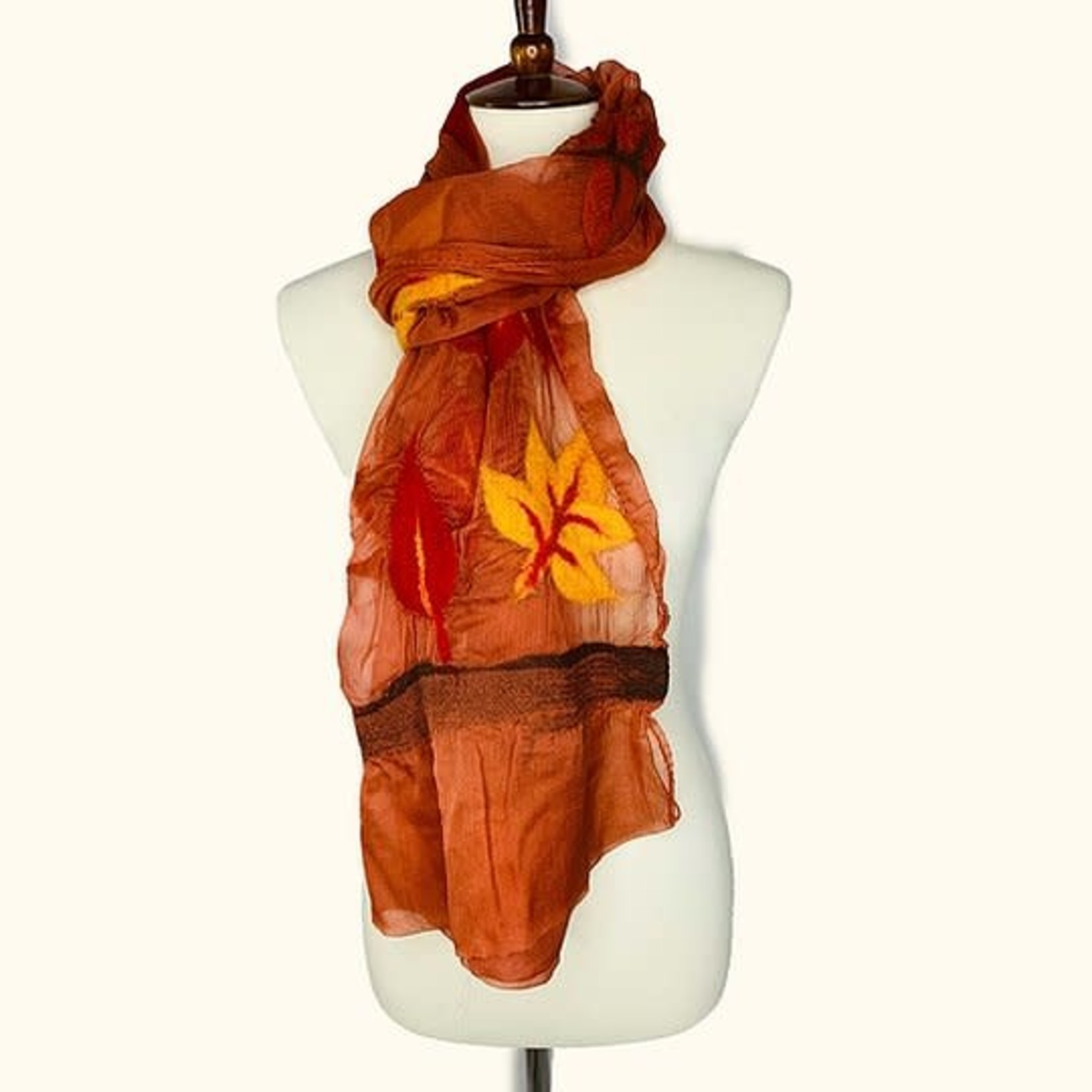 Wool Autumn Leaves On Rust Chiffon Scarf