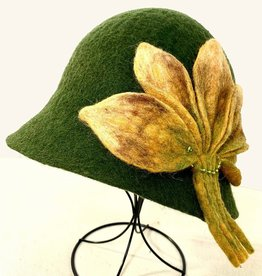 Olive Green Cloche Wool Hat w/ Mustard Floral Design