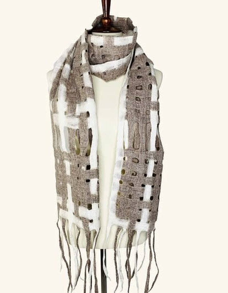 Basket Weave Merino Wool Woven Scarf