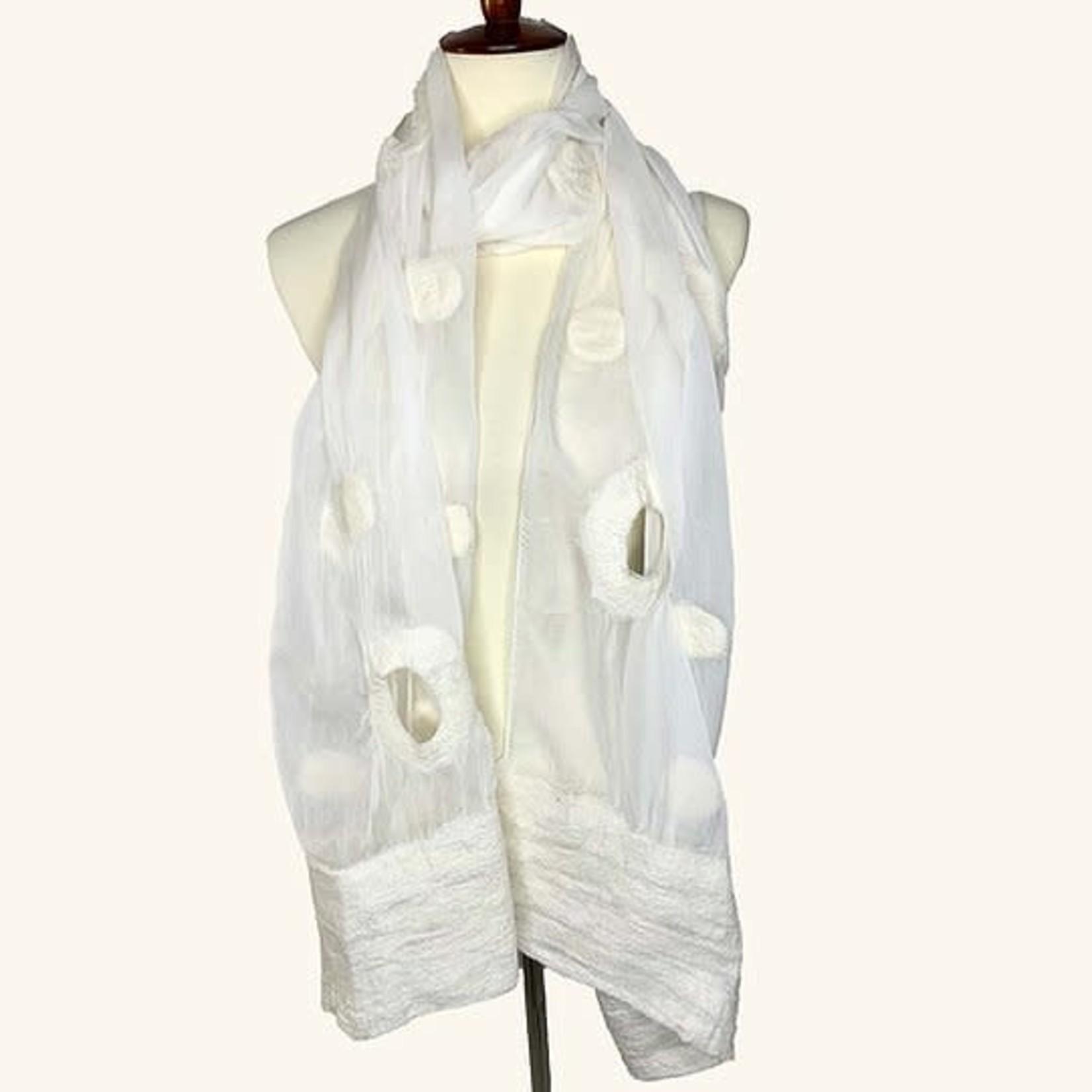 Circles & Dots White Wool & Chiffon Scarf