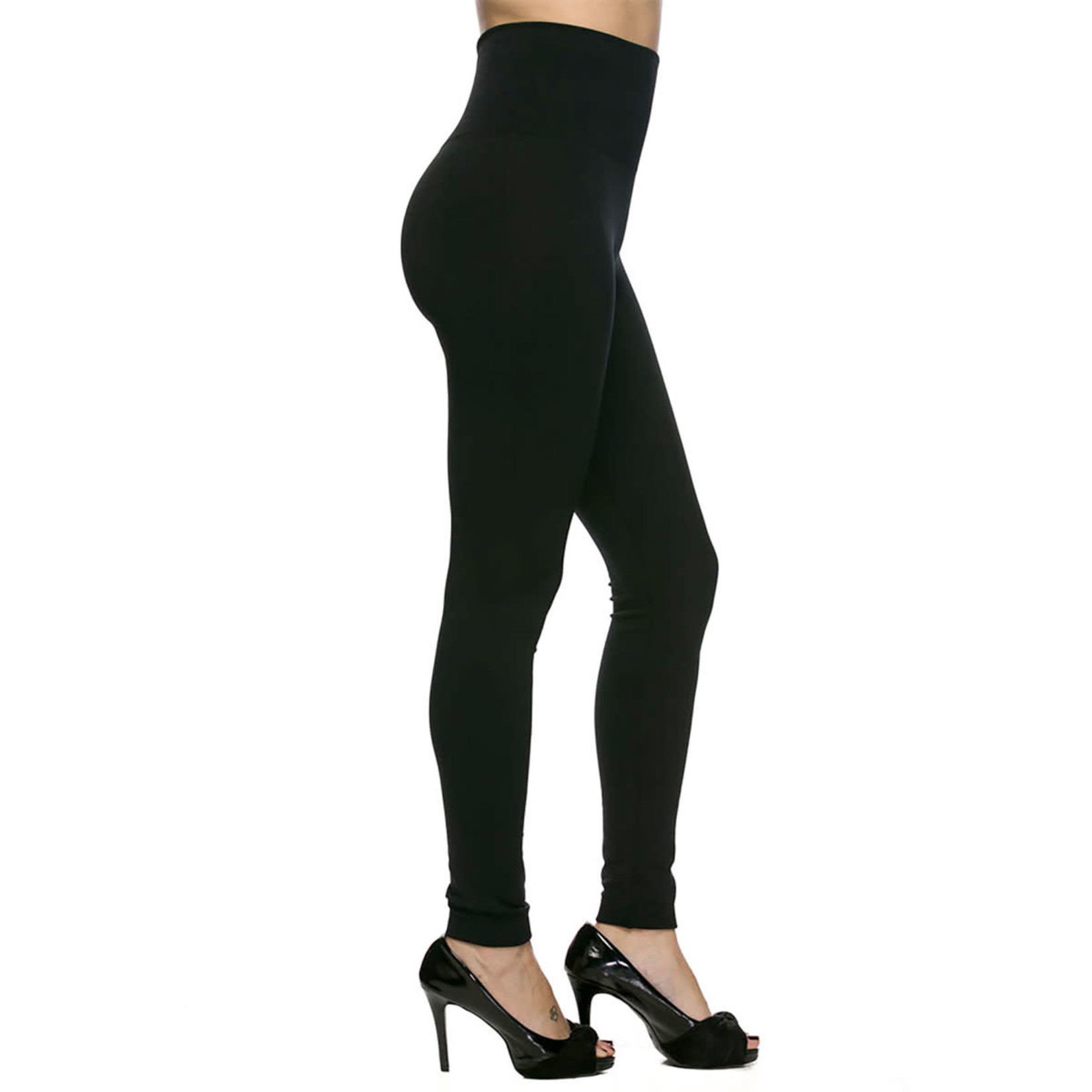 Black Fleece Lined Leggings With High Waist in One Size
