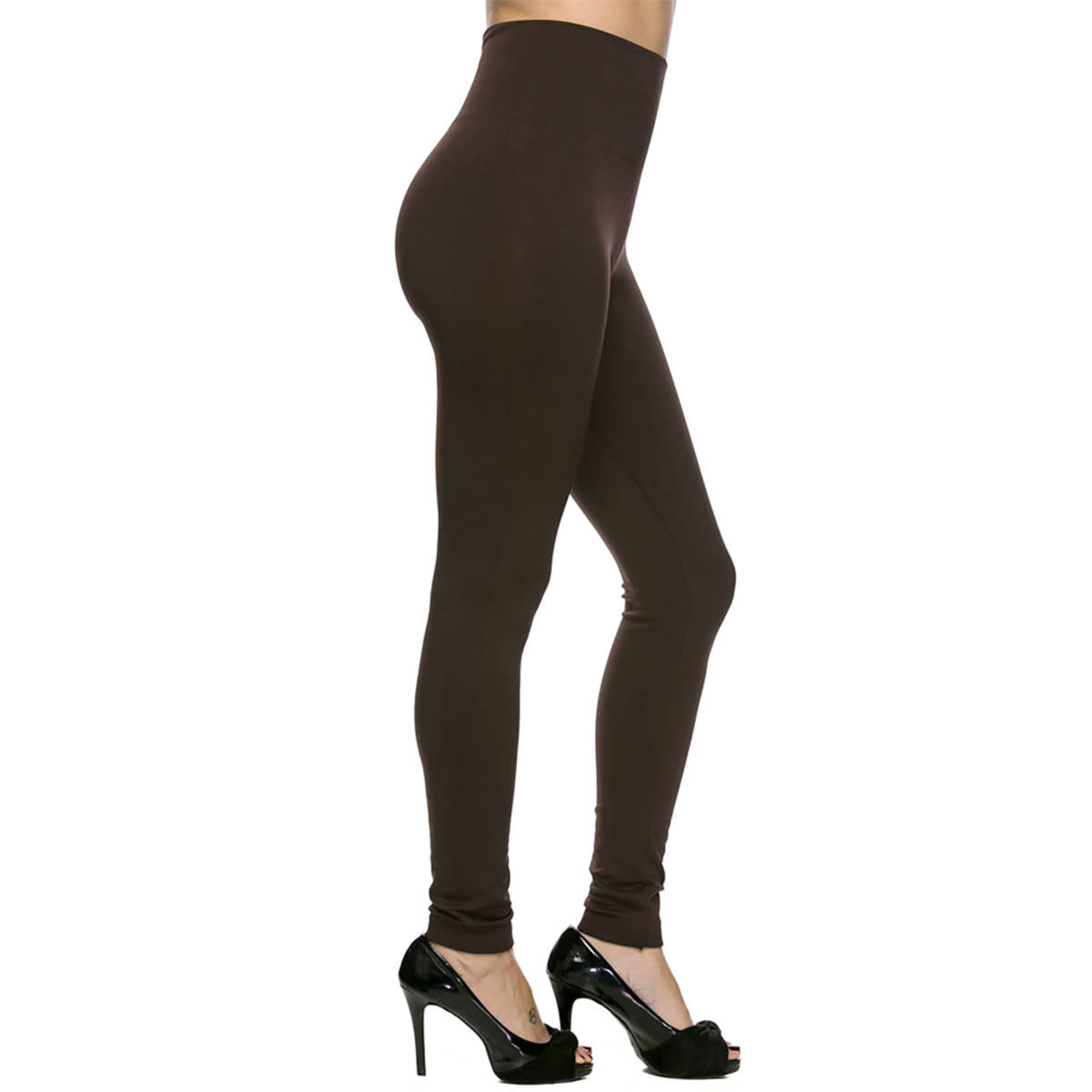 Brown Fleece Lined Leggings With High Waist in Plus Size (XL-2X)