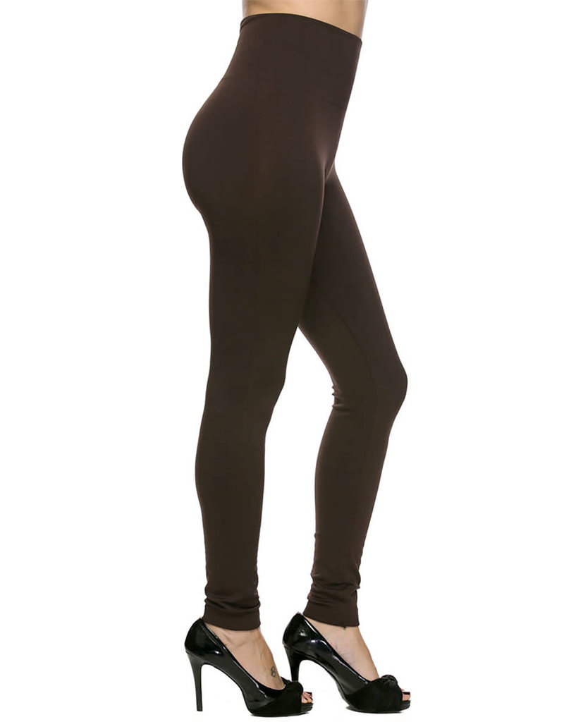 Brown Fleece Lined Leggings With High Waist in One Size