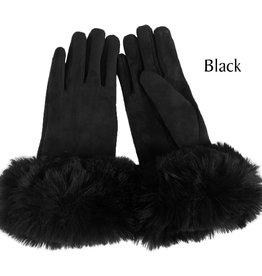 Faux Rabbit Trim Gloves in Black
