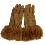 Faux Rabbit Trim Gloves in Camel-Caramel