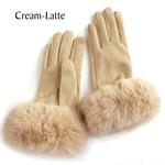 Faux Rabbit Trim Gloves in Cream-Latte