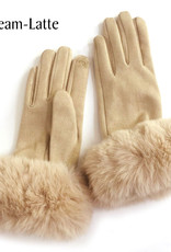 Faux Rabbit Trim Gloves in Cream-Latte