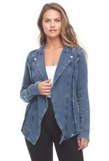 Vintage Wash Cascading Denim Jacket Terrycloth Lining No Closure