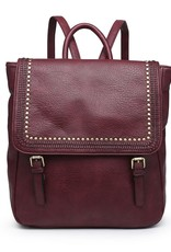 Faux Leather Backpack w/ Riveted Flap Closure and Top Handle Wine