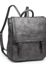 Faux Leather Backpack w/ Riveted Flap Closure and Top Handle Gun Metal