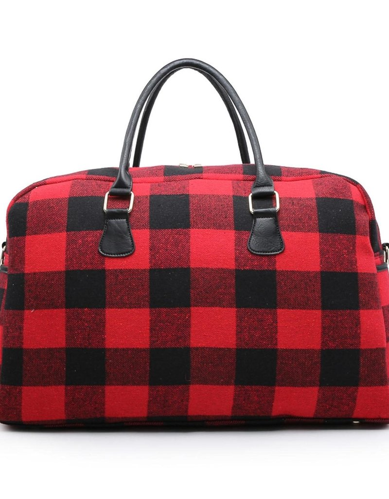 Duffle Bag/Cloth w/VeganStrap&Handle RedBlk Check