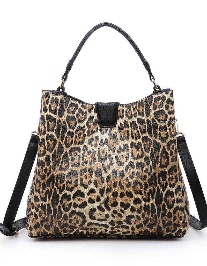 Tati Black & Mustard Leopard Satchel w/Magnetic Closure