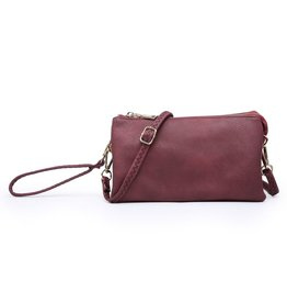 Riley - Vegan Leather Double-Sided Wristlet/Crossbody - Maroon (MRN)