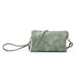 Riley - Vegan Leather Double-Sided Wristlet/Crossbody - Jade (JD)