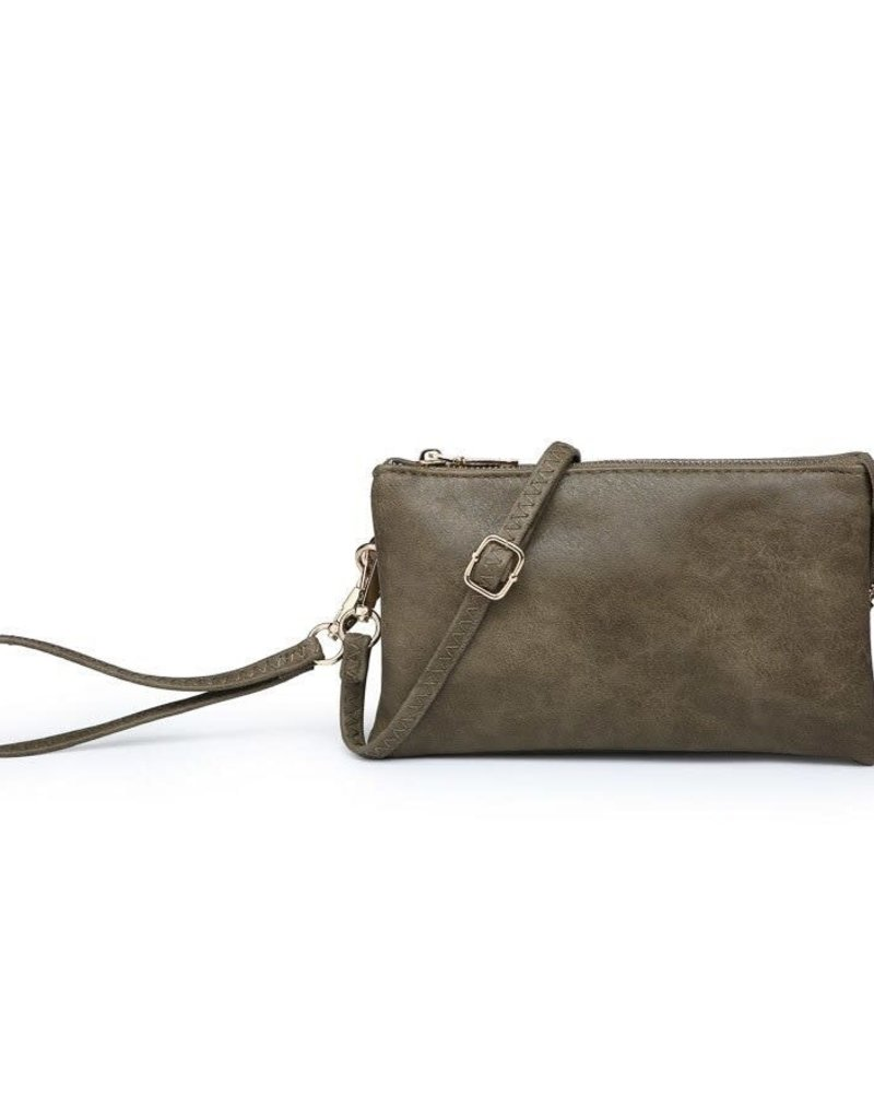 Riley - Vegan Leather Double-Sided Wristlet/Crossbody - Olive(OLV)