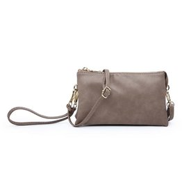 Riley - Vegan Leather Double-Sided Wristlet/Crossbody - Mushroom (MUSH)
