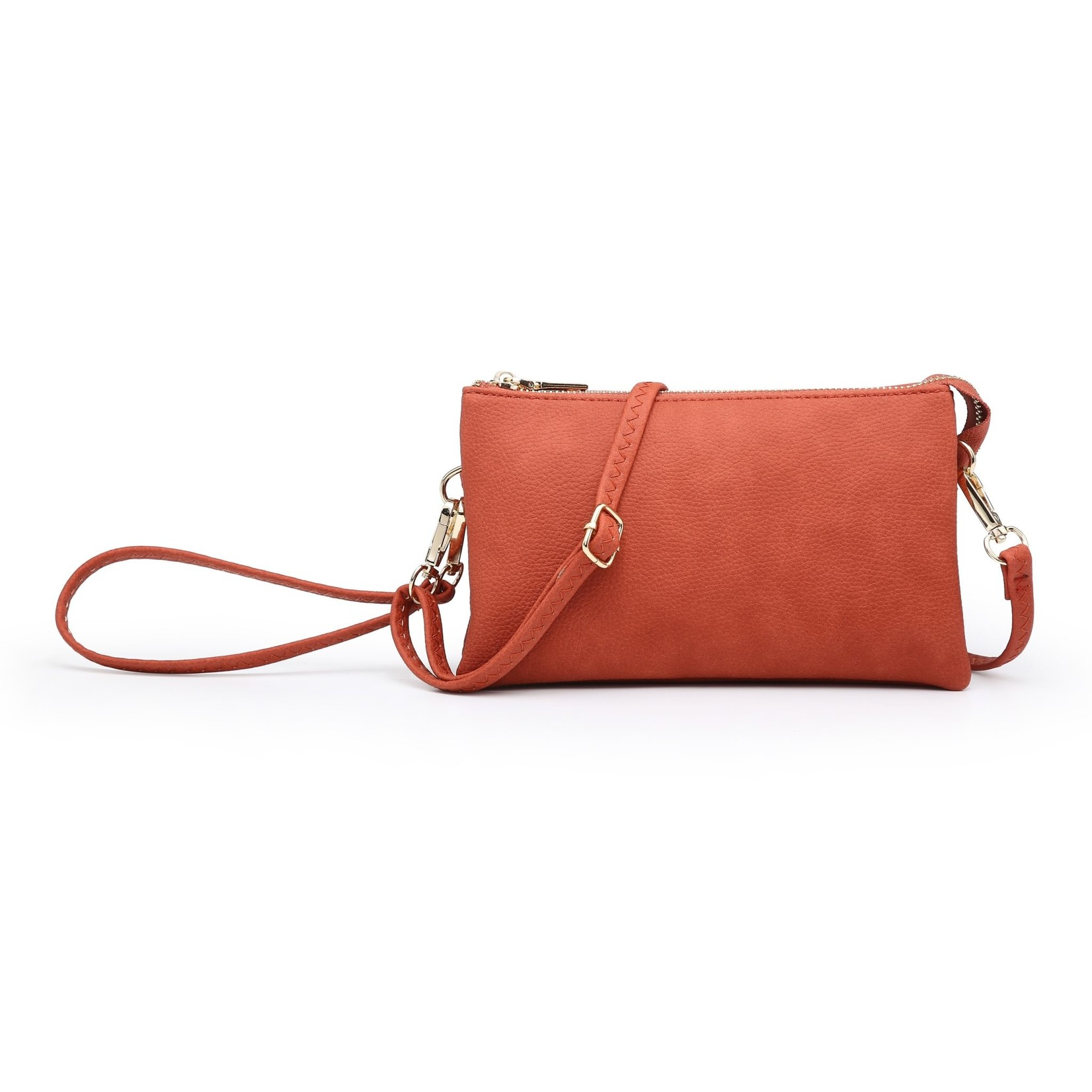 Riley - Vegan Leather Double-Sided Wristlet/Crossbody - Burnt Orange(BOR)