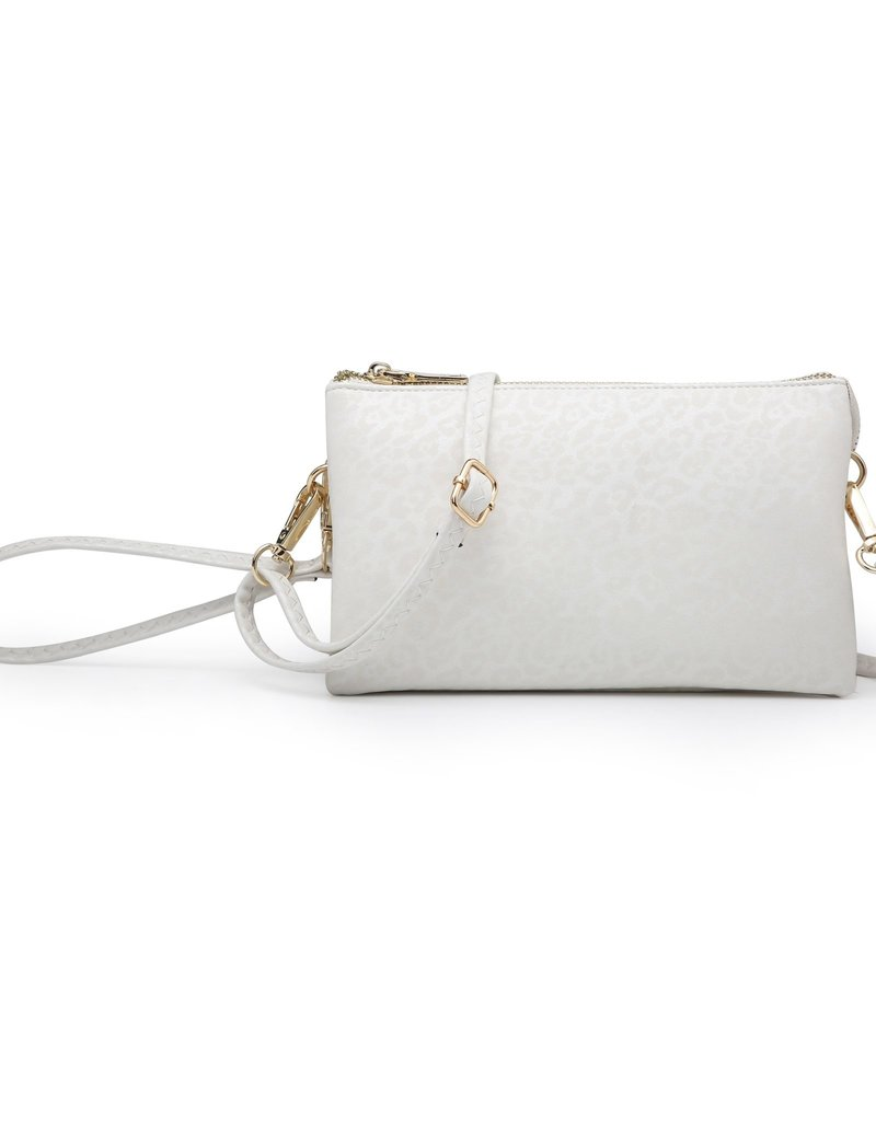 Riley - Vegan Leather Double-Sided Wristlet/Crossbody - Cheetah White