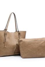 Iris Soft Vegan Tote w Bag Inside Taupe (TP)