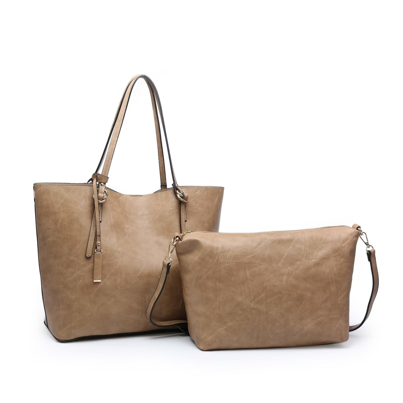 Iris Soft Vegan Tote w Bag Inside Taupe (TP)