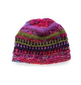 Rising Tide Himalayan 60%Wool 40%Silk Multi-Color Knit Hat Lavender