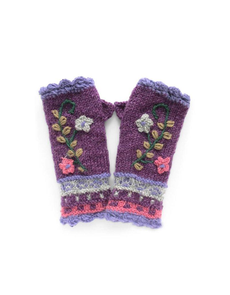 Rising Tide Rosemary - 100% Wool Fingerless Knit Mittens Violet