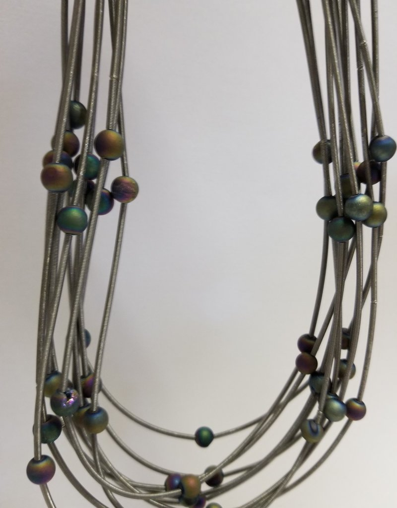 Sea Lily S22E 10 Layer Slate Necklace w/ Iridescent Geodes