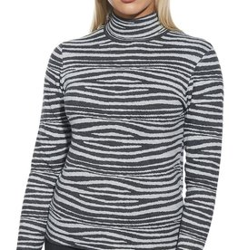 Heather Grey Zebra Print Mock Turtleneck Sweater