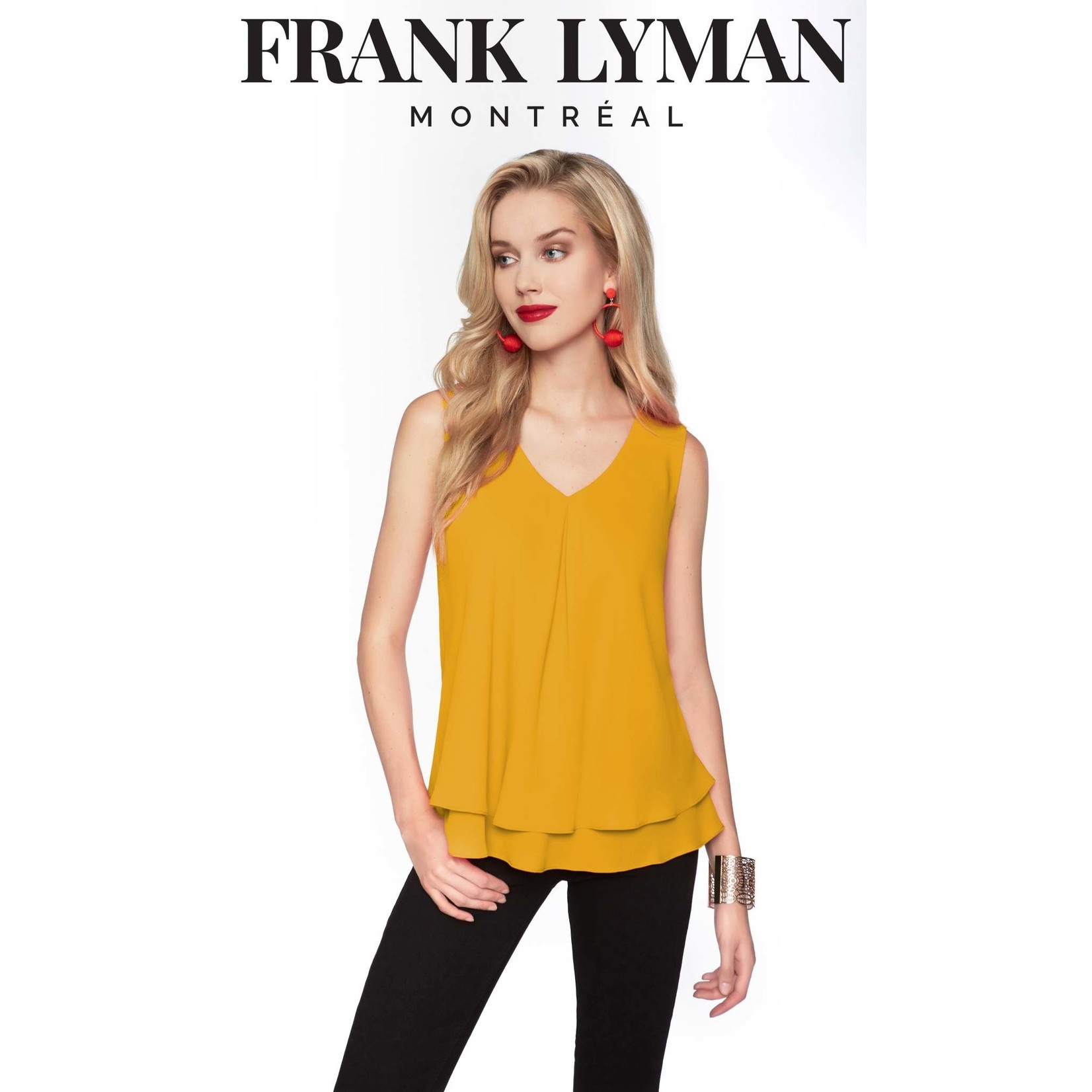 Woven V-Neck Layered Flowy Tank in Marigold