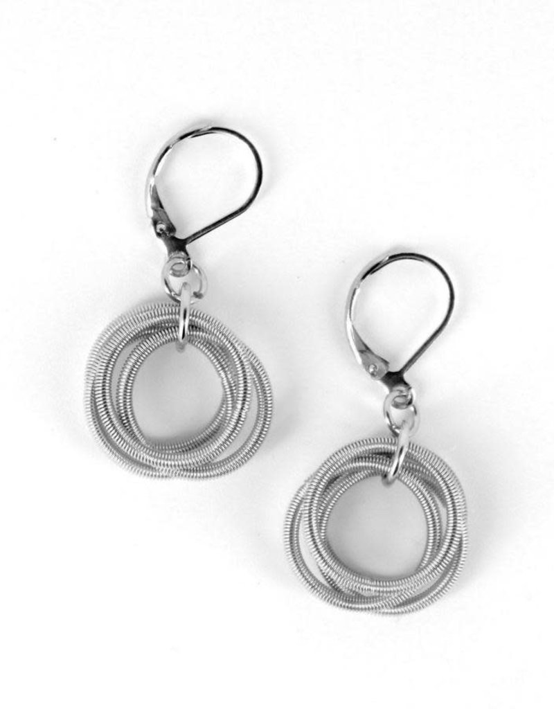 Sea Lily 256  Silver Piano Wire Loop Earrings