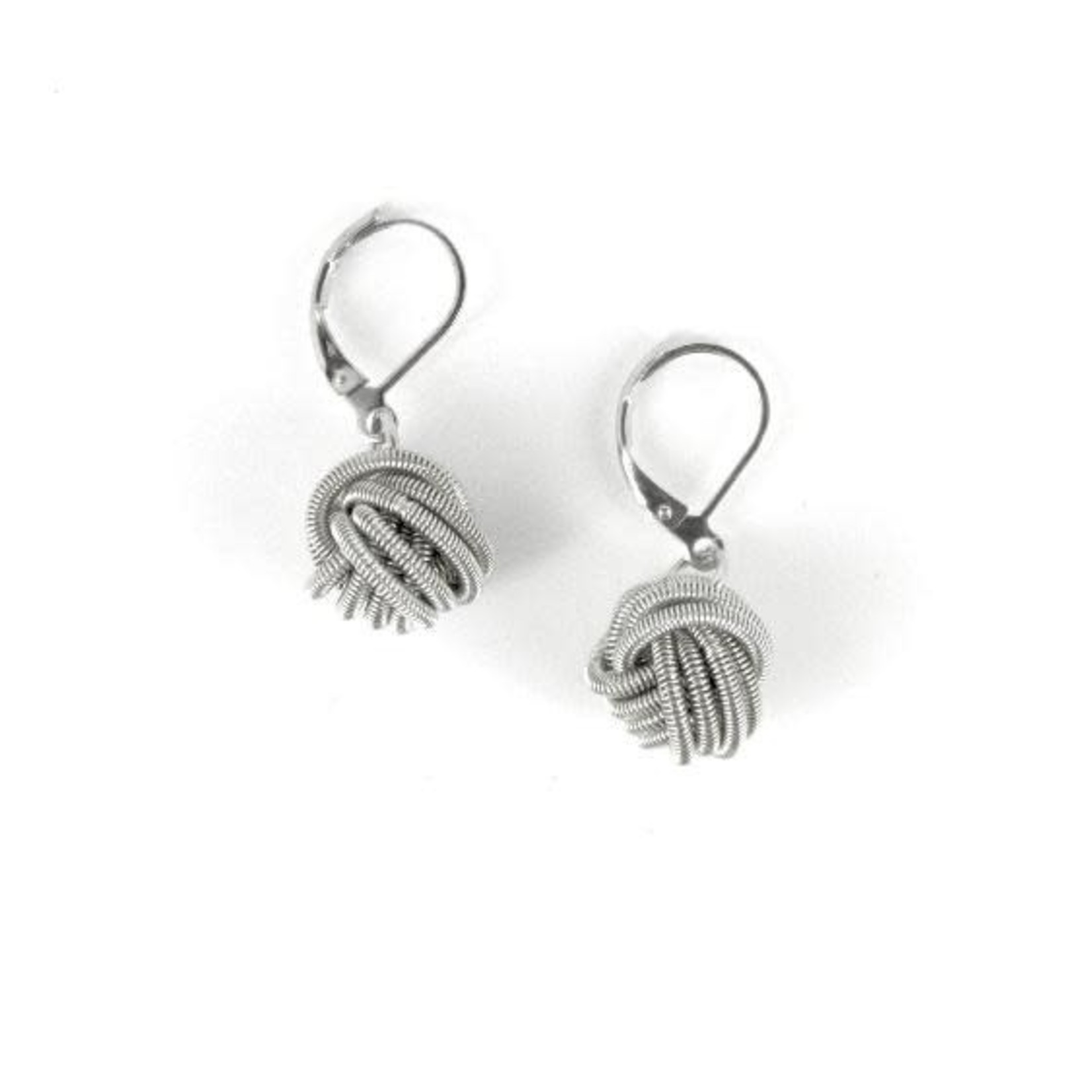 Sea Lily Silver Knot Piano Wire Earrings