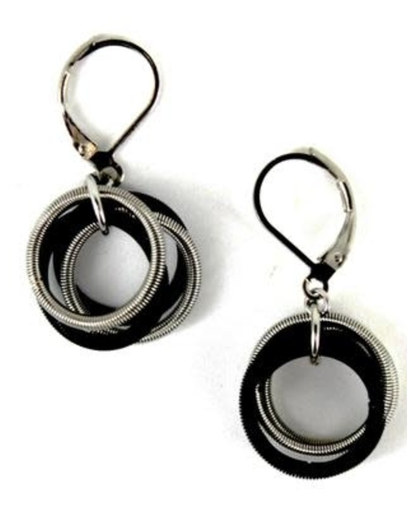 Sea Lily 270  Silver and Black Piano Wire Loop Earrings