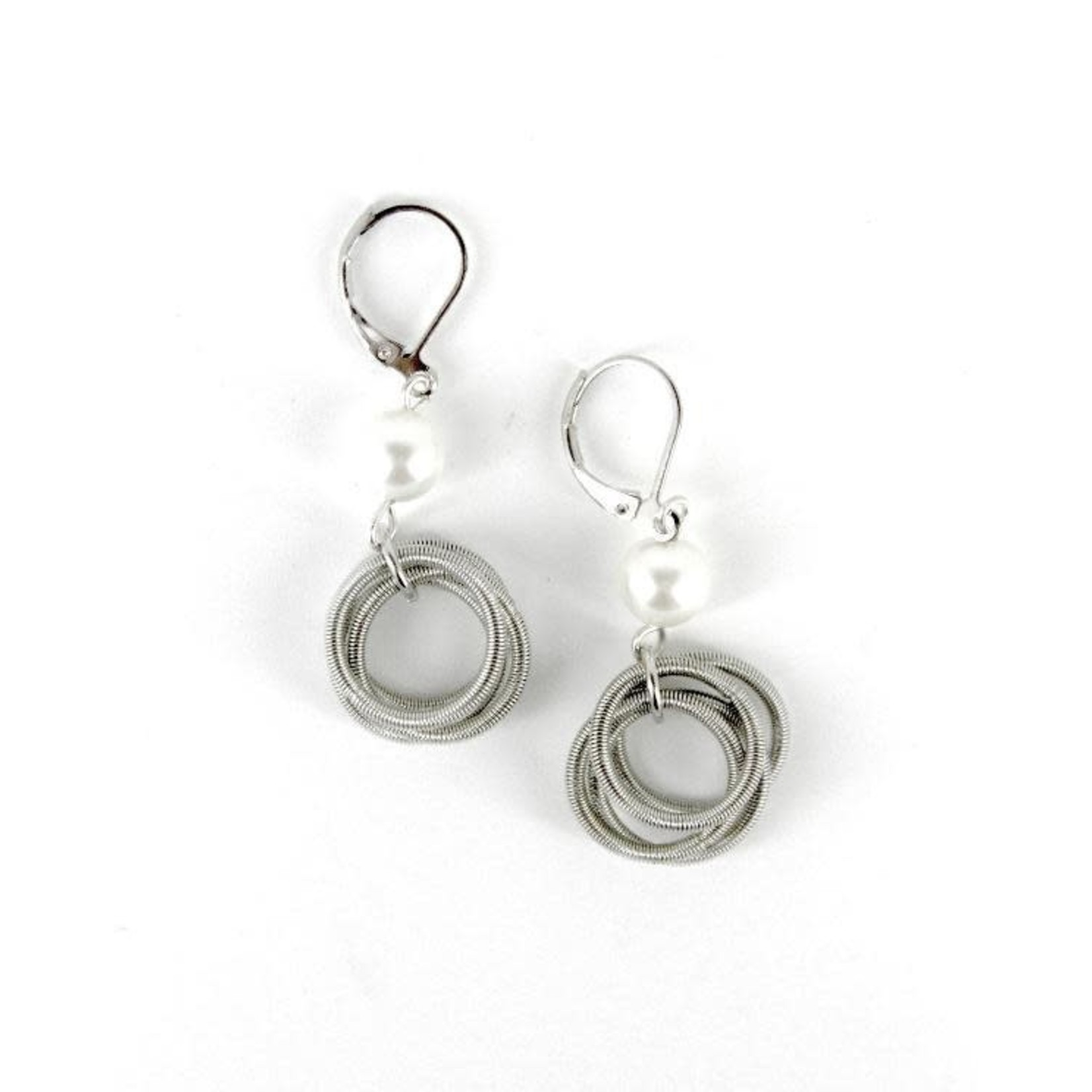 Sea Lily Silver Piano Wire Loop Earrings w/ White Pearl