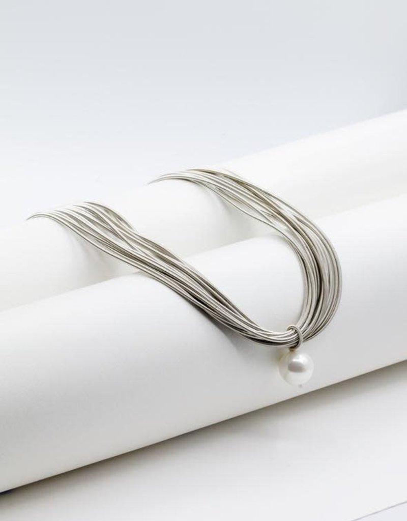 Sea Lily Silver Piano Wire Necklace w/ Single White Pearl