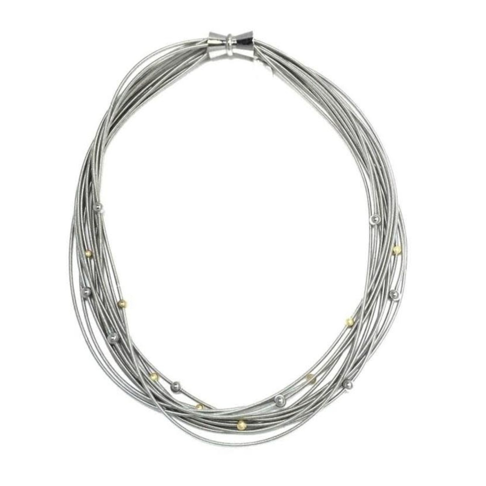 Sea Lily Silver Piano Wire Necklace w/ Silver/Gold Beads