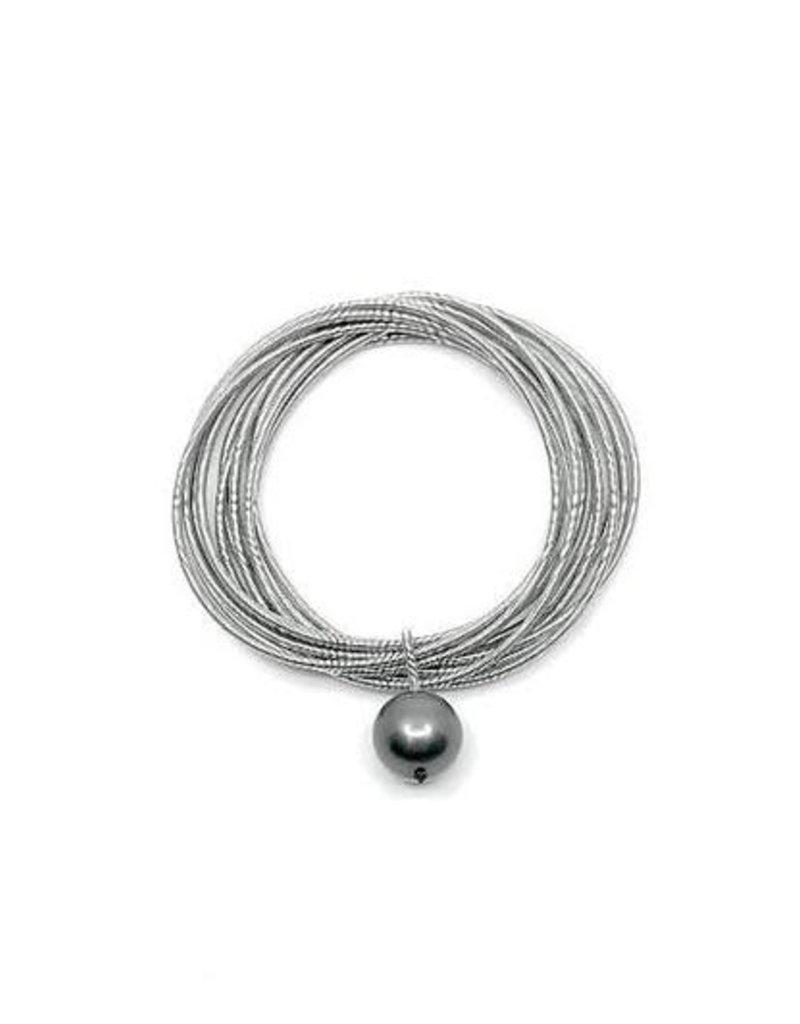 Sea Lily 551 Silver Piano Wire Bracelet w/ Black Pearl Drop