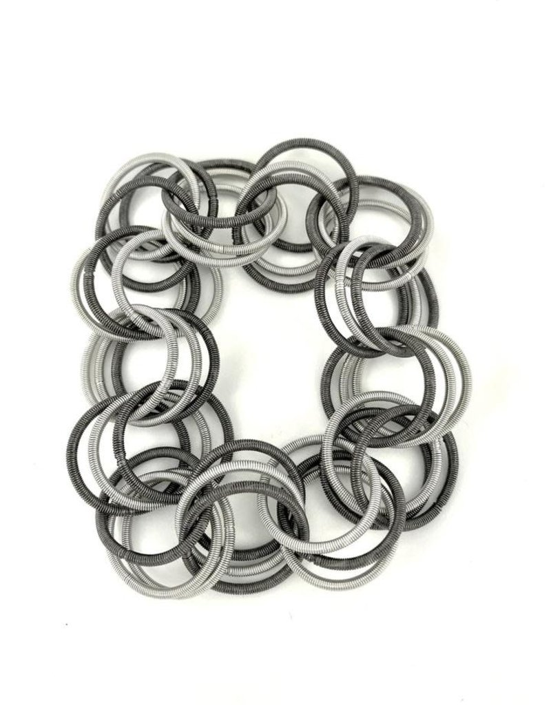 Sea Lily Silver/Slate Piano Wire Spring Ring Bracelet