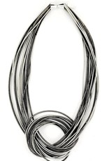 Sea Lily Silver/Slate Piano Wire Large Knot Necklace