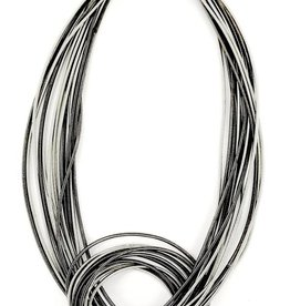 Sea Lily 715 Silver/Slate Piano Wire Large Knot Necklace
