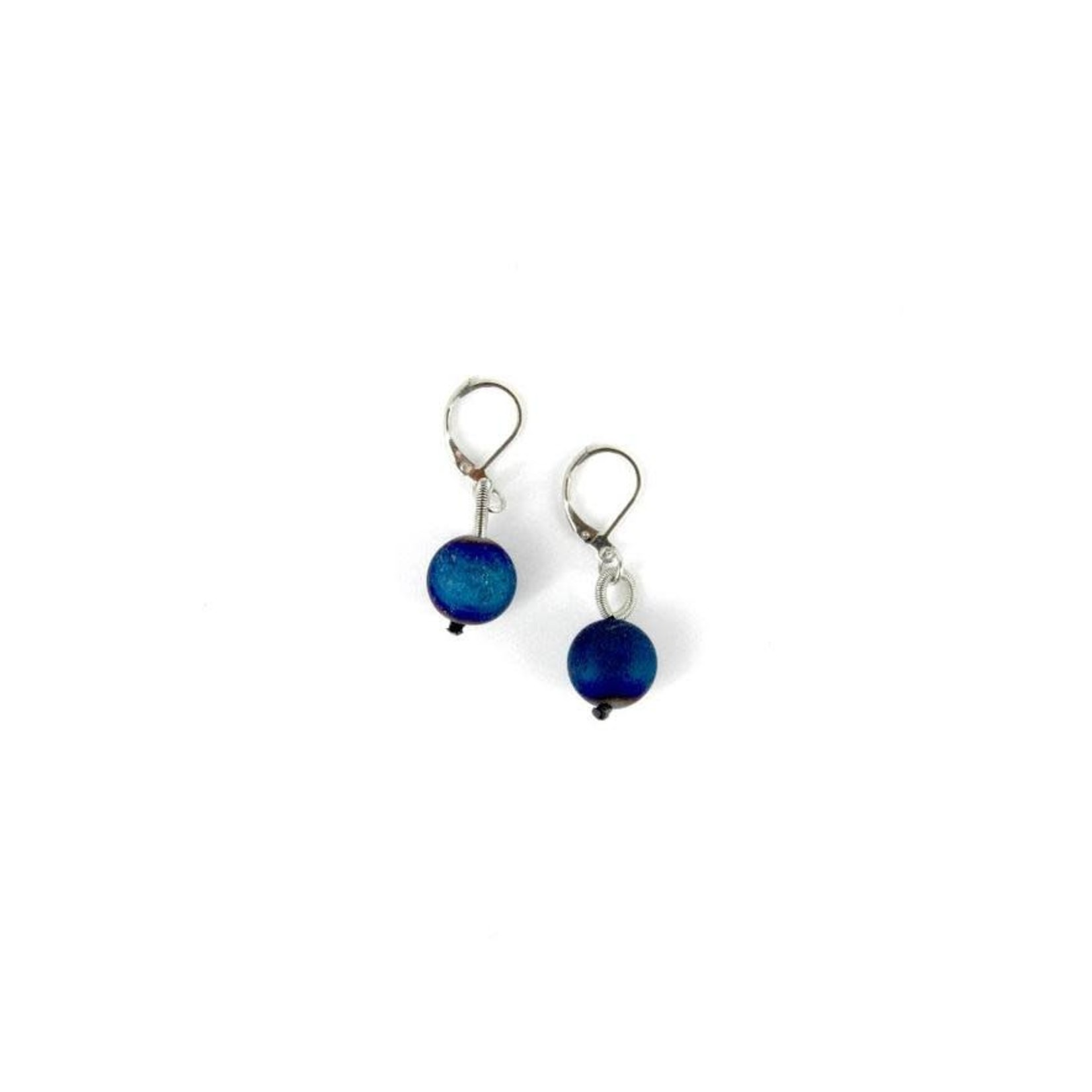 Sea Lily Silver Piano Wire Earrings w/ Blue Geodes