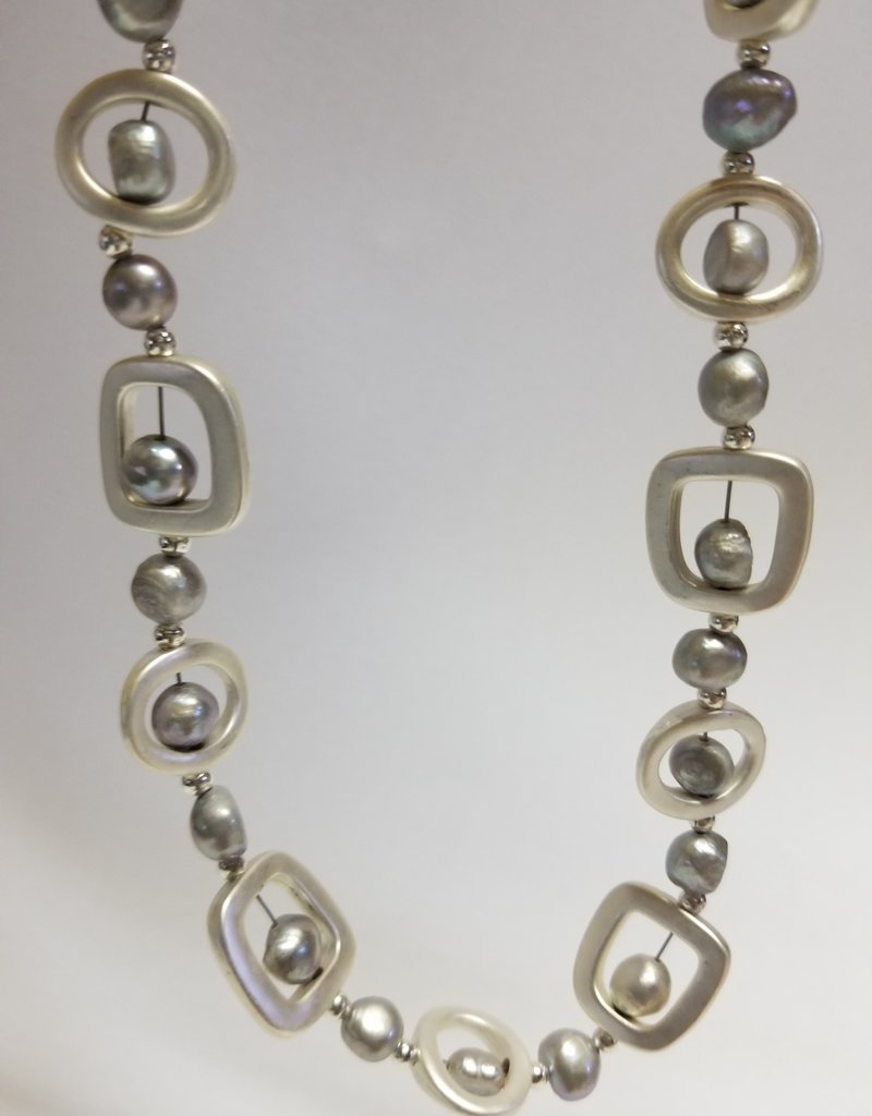 Sea Lily Necklace/LongSilvrGeometrics w/SilvFreshwaterPears