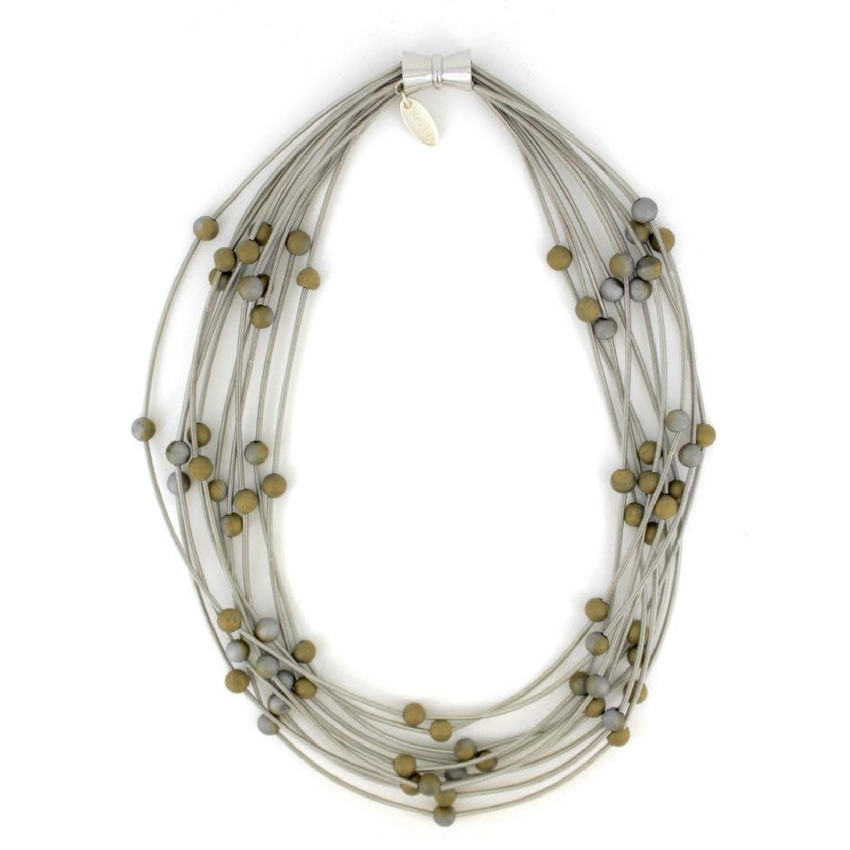 Sea Lily 10 Layer Silver Necklace w/ Silver-Gold Geodes