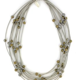 Sea Lily S22V  10 Layer Silver Necklace w/ Silver-Gold Geodes
