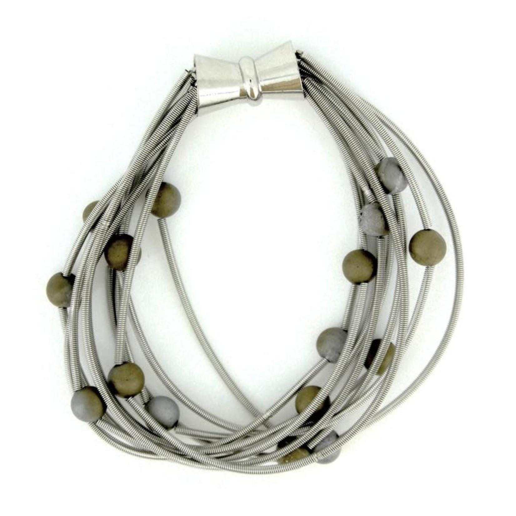 Sea Lily 10 Layer Silver Bracelet w/ Silver/Gold Geodes