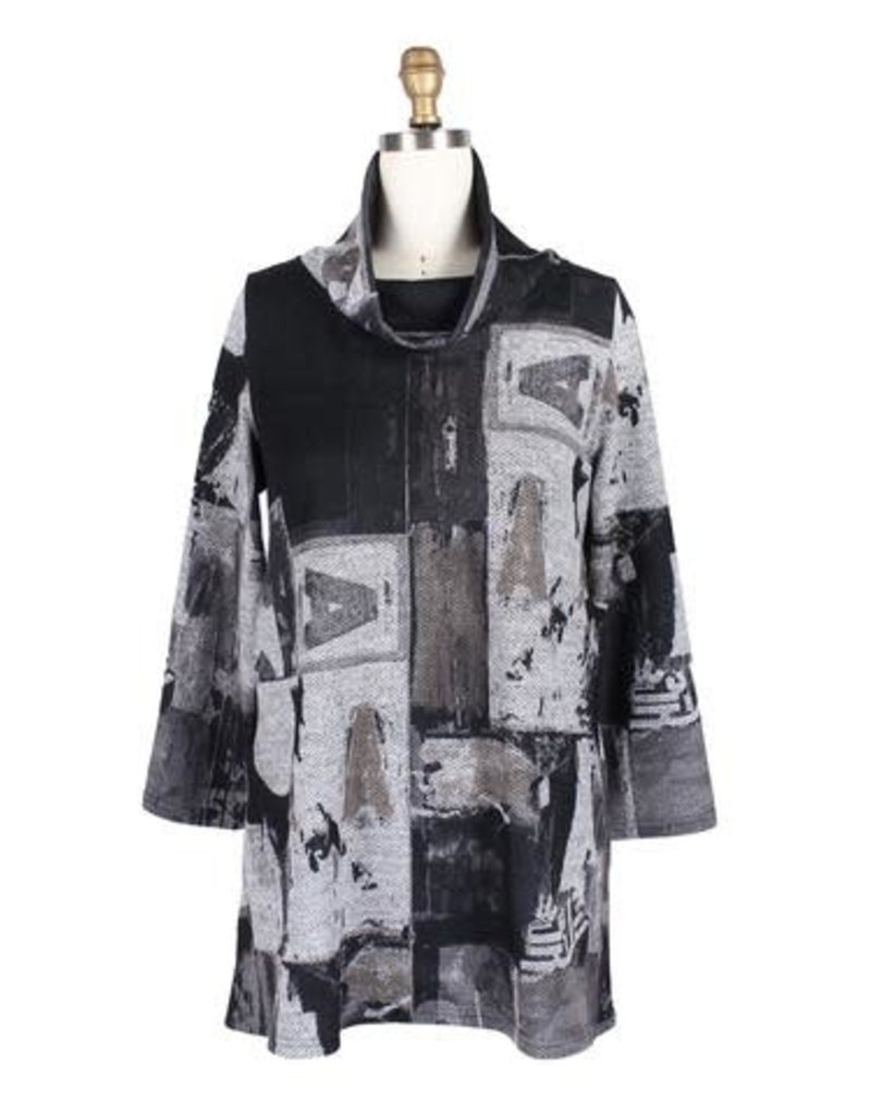 Damee Abstract Collage Tunic - Black
