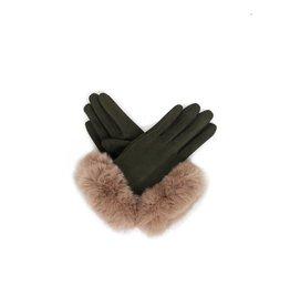Powder Faux Suede Gloves w/ Faux Fir Trim - Sage/Stone