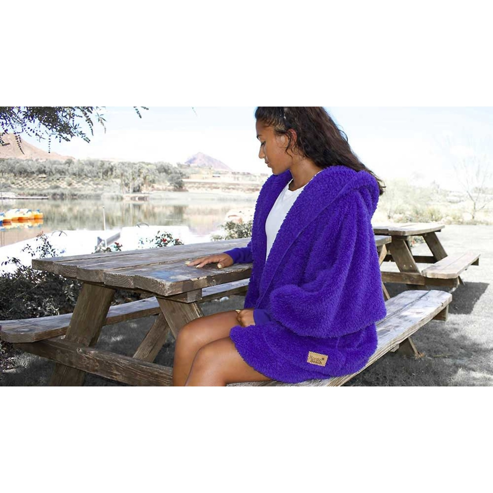 Nordic Beach Fuzzy Fleece Hooded Cardigan in Exotic Violet