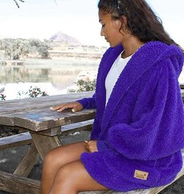Nordic Beach Fuzzy Fleece Hooded Cardigan in Exotic Violet